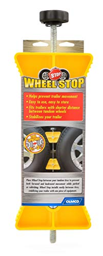 Camco RV Wheel Stop- Stabililizes Your Trailer by Securing Tandem Tires to Prevent Movement While Parked- 26' to 30' Tires- Small (44652)