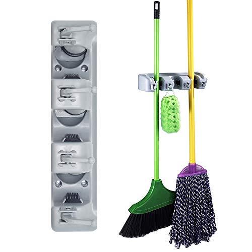 Senhai Garage Lagerung, 3 Position mit 4 Haken Garage Organizer Universal-Magic Wall Halter/Ständer für Organizer Haushalt Besen/Mopp-Reinigungswerkzeug