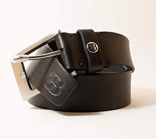 Echtledergürtel 35mm, schwarz, Handgemacht von JOTBE für Frauen und Männer, Made in Germany