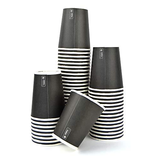 SDG Lot de 100 verres noirs 9 oz (266 ml) en papier haut 9,5 x 7,5 cm de diamètre Idéal pour boissons chaudes comme café, cappuccino et tisane