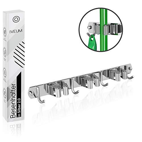 IVEUM Hochwertige Besenhalterung für die Wand - Edelstahl Besenhalter - Leichte Montage und leichte Aufhängung von Gartengeräte - Gerätehalter mit 3 Halter und 4 Haken