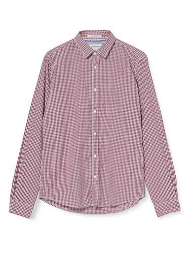 Springfield Popelin Cuadros Vichy-C/60 Camisa Casual, Rojo (Red 60), Large (Tamaño del fabricante: L) para Hombre