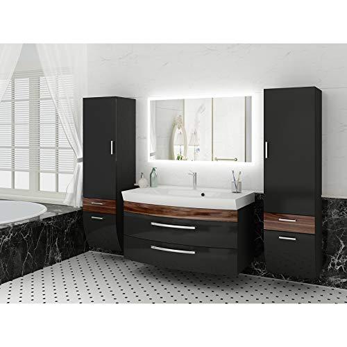 Badezimmermöbel Set Hochglanz Anthrazit/Walnuss mit 2 x Hochschrank und modernen LED-Licht-Spiegel