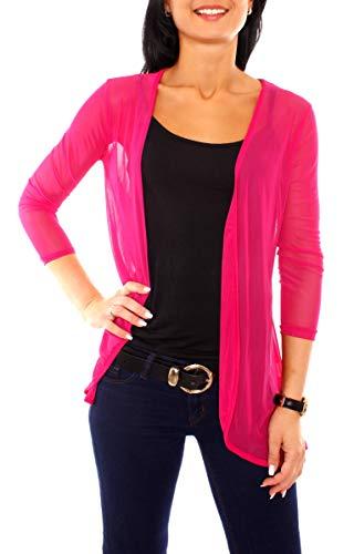 Easy Young Fashion Damen Jacke Mesh Cardigan Transparent Langarm Netz Jäckchen Dünn Strickjacke Strickjacke Leicht One Size Pink
