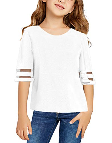 TENMET Girls Summer Bell Sleeve Panel Tee Tops Casual Keyhole Back Loose Shirt (4-13 Years) White