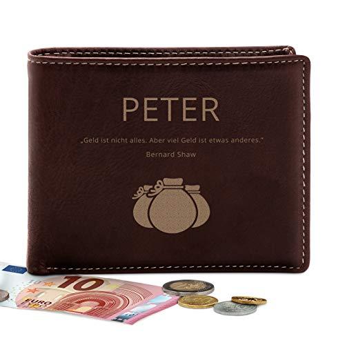 Murrano Geldbörse Herren mit Gravur - Portmonee Geldtasche - personalisiert - Geschenke für Männer - 12,5x10cm - braun - aus Leder - Zitat