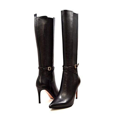 SoleMani Noosh 13' Slim Calf Women Leather Dress Boots Black