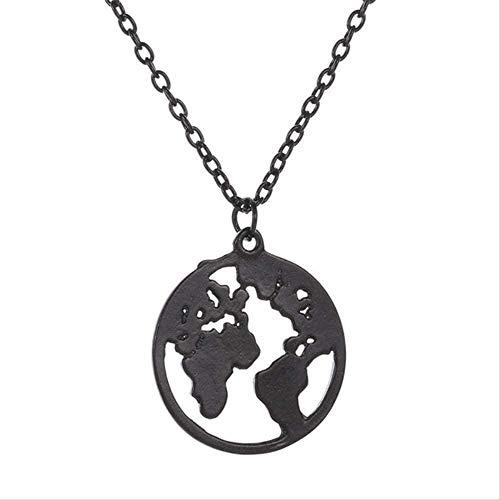 WYDSFWL Collar Mapa del Mundo Colgante, Collar para Mujeres, Hombres, Mujeres, Amantes, Collar, joyería de clavidad Corta, Regalo, Collar de joyería