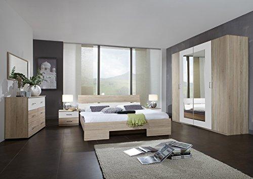 Schlafzimmerset 5-tlg »LIANA« Eiche sägerau, alpinweiß 140x200cm