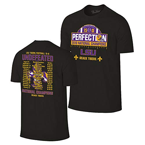 Elite Fan Shop LSU Tigers National Championship Champs Perfection Tshirt 2019-2020 Schedule Black - Large