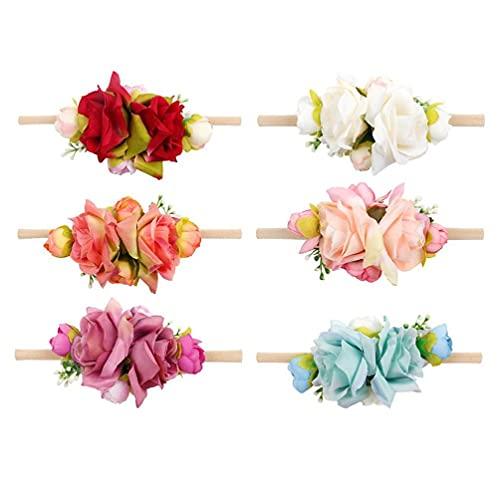 Lot de 6 accessoires de photographie pour nouveau-né - Bandeau floral - Bandeau de princesse - Crochets muraux - Crochets de porte - Crochets adhésifs - Crochets autocollants - Crochets muraux