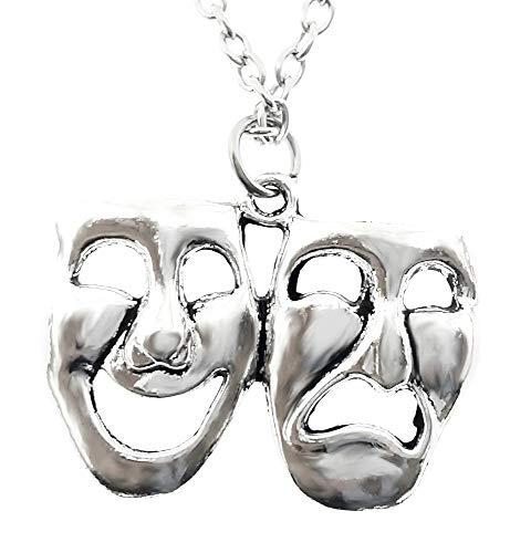 Maskers ketting - masker - komedie en tragedie - theater - opera - vrouw - origineel cadeau idee - kerstmis - man - man - sierraden - verjaardag - zilver - sieraden