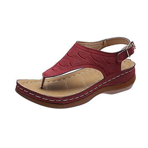 DLQX Fichas De Mujer Flip Fashion European and American Fashion Summent Plus Tamaño Redondo Toe Sandalias Damas(Size:42,Color:B)