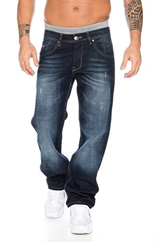 Rock Creek Herren Jeans Hose Denim Blau Straight-Cut Gerades RC-2091 Dunkelblau W40 L30