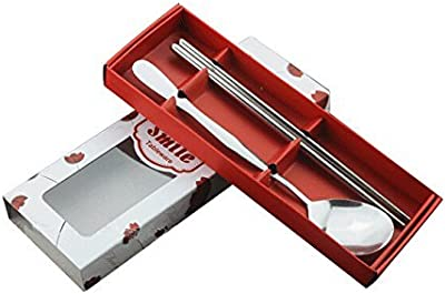 SODIAL(R) Fine Stainless Steel Cutlery Sets(Window box red)