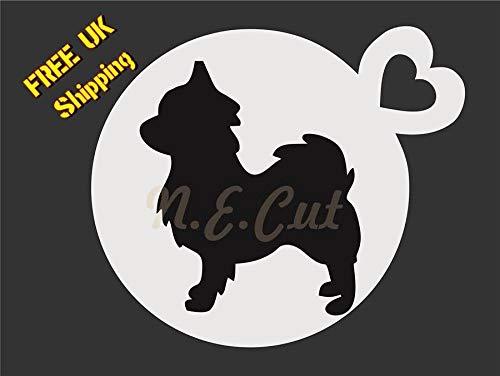 N.E.Cut DOGC159-LONG HAIRED CHIHUAHUA - Hond Stencil - Koffie Beker Cake-Gezicht Verf stencil