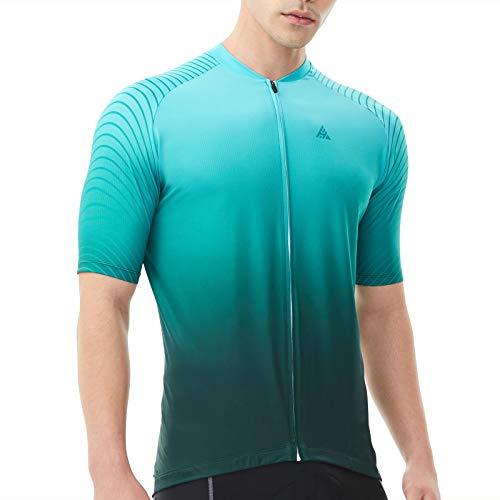 Hikenture Cycling Jersey, Short Sleeve Bike Jersey, Full Zipper Cycling Shirts with 3 Pockets, Breathable Bike Shirt Green