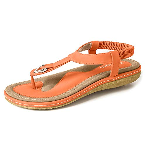 Deals Women's Comfy Sandals, Comfort Slip On Summer's Sandals (Size 11, Orange)