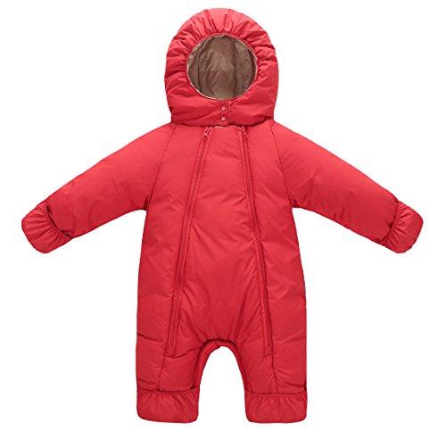 AHATECH Bébé Combinaison Hiver Chaude Grenouillères Bébé Garçon Fille Barboteuse à Capuche Unisexe -Rouge