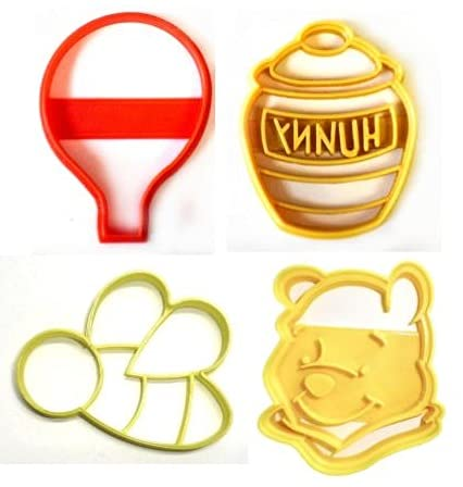 WINNIE THE POOH ADVENTURES BALLOON BEE HUNNY HONEY POT DISNEY BOOK KIDS CARTOON SET OF 4 SPECIAL OCCASION COOKIE CUTTERS MADE IN USA PR1064