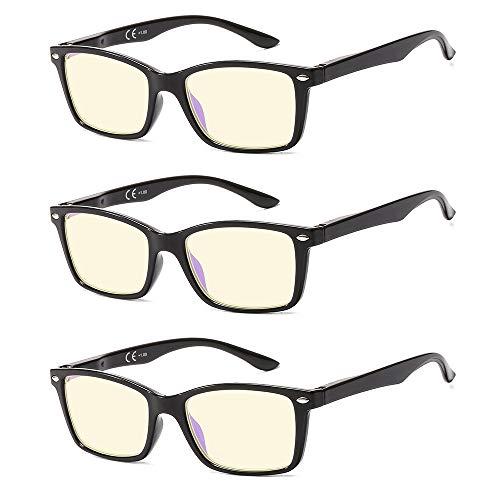 Suertree 90% Anti Blue Light Lesebrille 3 Pack Sehhilfe Augenoptik Brille Lesehilfen für Damen Herren BM151T 1.5x