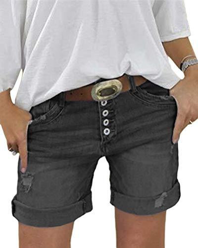 Minetom Damen Sommerhose Lässig Jeans Hose Kurze Denim Hosen Slim Fit Stretch Jeansshorts Shorts Bermuda mit Knopfleiste C Schwarz Medium