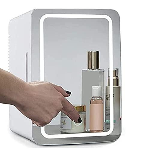 Angelay-Tian Nevera de Belleza de 8 l, minirefrigerador para el Cuidado de la Piel, con estantes extraíbles y Espejo de Pantalla táctil para cosméticos, Maquillaje y Productos para la Piel