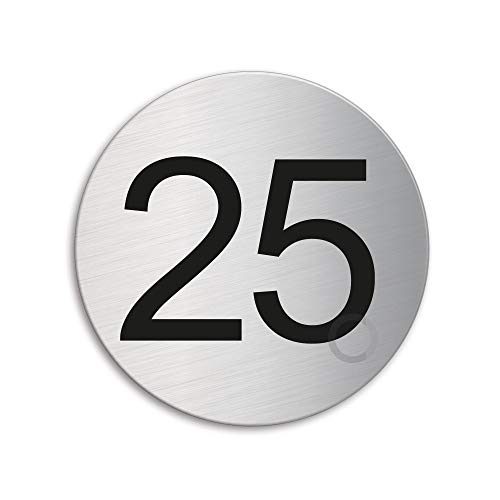 Plaque Numéro de porte 25 | Ø 75 mm autocollant | acier inox brossé 41015