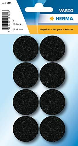 HERMA 15003 Filzgleiter Möbelgleiter, Ø 28 mm, schwarz, selbstklebende runde Stuhlgleiter aus Filz für Möbel, Parkett, Laminat und Stühle, 8 Stück