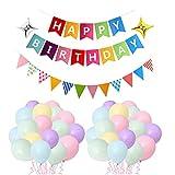 LBInerrant 32pcs Party Supplies Feliz Cumpleaños Decoración Banner | Happy Birthday Banderas de Colores| Fiesta de Cumpleaños Favores(Temas Coloridos)