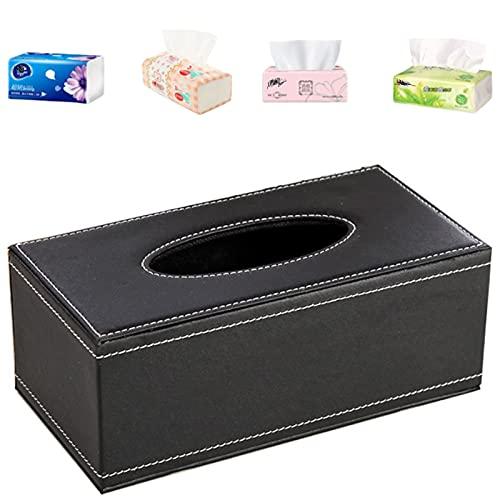 Caja de PañUelos de Cuero Rectangular Caja de PañUelos Negra Dispensador de PañUelos para EI Hogar y EI Coche Caja De Papel de Seda Servilleta para DecoracióN del Hogar Oficina Coche Color Negro