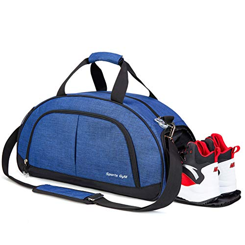Sports Gym Bag with Wet Pocket for Men and Women Travel Duffel Bag with Shoes Compartment (Blue)