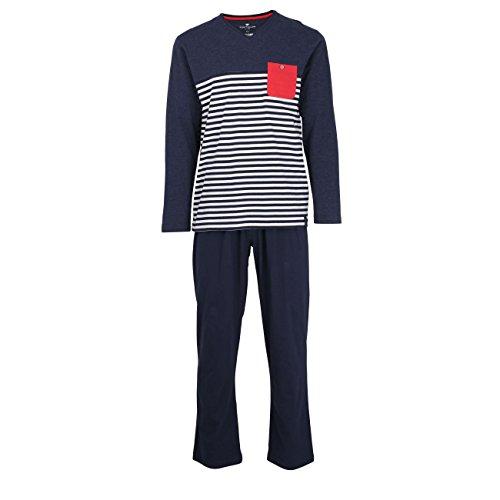 TOM TAILOR Herren Pyjama, Schlafanzug, Shirt und Hose, Langarm, Baumwolle, Single Jersey, blau, gestreift 50