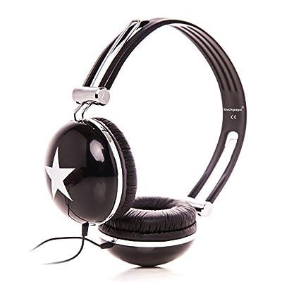 RockPapa Adjustable Stereo Star Kids Headphones Earphones, Over Ear, Headphone for Girls Boys Teens Childs Adults, Soft Earpad, Deep Bass for MP3 MP4 DVD iPod iPad iPhone Tablets Laptop TV Black