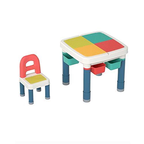 JTKDL Mesa de actividades para niños pequeños, mesa para niños y silla de silla todo en uno Multi actividad PlaySet Compatible Bloque de construcción y mesa de agua Mesa de arena de juego al aire libr