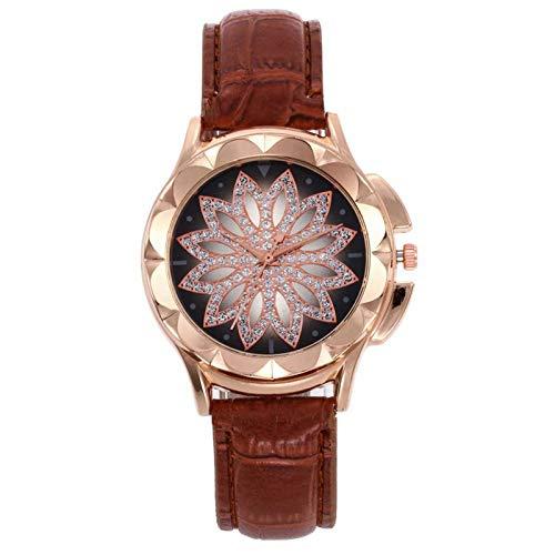 Relojes Para Mujer Relojes de moda de las mujeres Correa de cuero Reloj de cuarzo Rhinestone Reloj vestido femenino reloj regalo para novia Relojes Decorativos Casuales Para Niñas Damas ( Color : D )