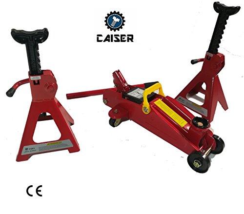 CAISER Gato HIDRÁULICO 2 TONELADAS Y CABALLETES (Rojo)