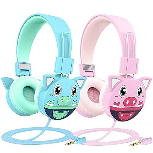 Auriculares Niños 2 Pack,Puersit Auriculares con Cable para niños,Límite de Volumen de 85 dB,Ajustable, y Plegables Auriculares Unicornio niños para Phone Tablets PC MP3