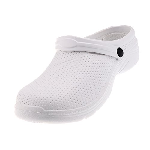 Zoccoli Unisex Antiscivolo Pantofole Da Lavoro Sandali Da Spiaggia Piscina Sanitaria EU 37-41 - bianca, EU 40