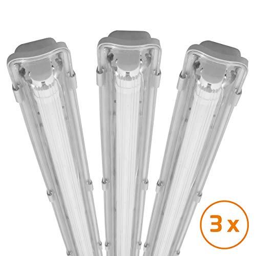 proventa® LED-Feuchtraumleuchte 120 cm, Sparset mit 3 Stück, mit LED-Röhre, IP65, 4.000 K, 18 W, 1.800 Lumen, Kunststoff grau, Energieklasse A+