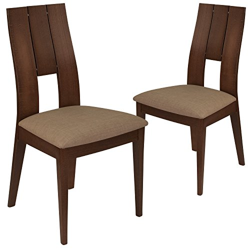 Flash Furniture Walnut Wood Dining Chairs, 2 Pack,