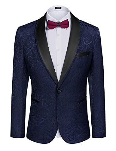 COOFANDY Men's Floral Tuxedo Suit Jacket Slim Fit Dinner Jacket Party Prom Wedding Blazer Jackets, Navy Blue, XX-Large