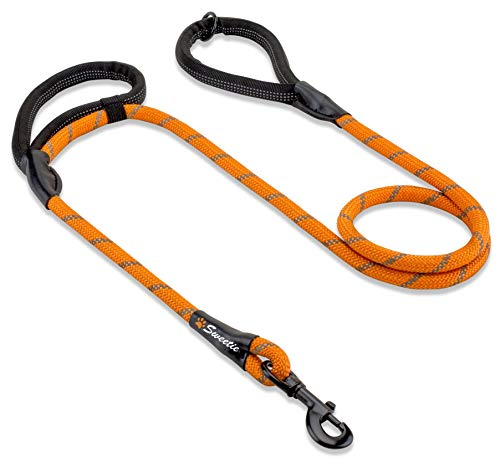 Sweetie Rope Dog Lead - Innovative Design with Two Padded Handles - Reflective Stitching & O-Ring - 5 FT Long Leash for Medium & Large Sized Pets - Weather Resistant & Strong Material