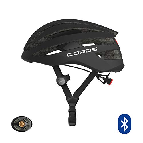 Coros SafeSound Road Smart Cycling Helmet with Ear Opening Sound System SOS Emergency Alert LED Tail Light| Bluetooth Connection for Music and Phone Calls| Lightweight (Black, M (55-59CM))