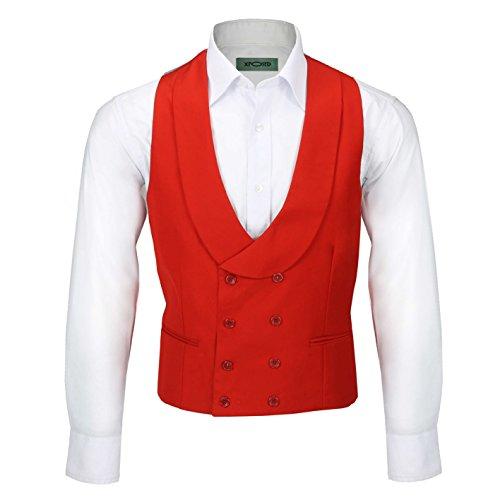Xposed Chaleco vintage de doble botonadura con solapa para hombre, ajuste a medida, elegante, vestido de novia con esmoquin [CWC-2-318-289-rojo, pecho UK 42 EU 52, rojo]