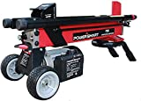 PowerSmart Log Splitter, 6-Ton 15 Amp Electric Log Splitter, Electric Wood Splitter, Standard Size, Red, Black, PS90