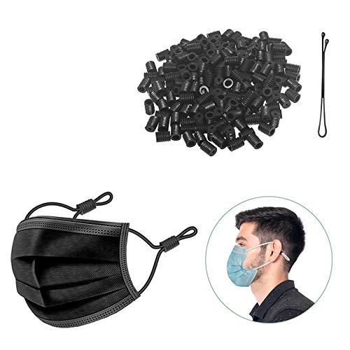Mask Adjuster Cord Locks Silicone Toggles for Elastic Cord Drawstring Non Slip Mask Elastic Adjustable Buckles Stopper Sewing (100 pcs Black)