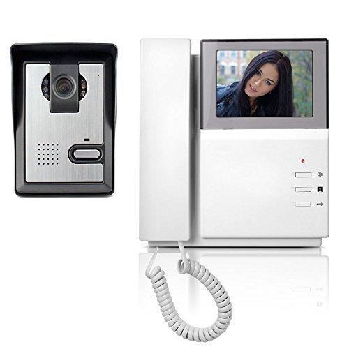 "Interfón Digital con Cámara 90º, YOKKAO Video Portero Electrónico con Pantalla Digital LCD HD de 4,3"", Manos libres, Visión Nocturna, Función de memoria, Auto-Apagado (Color Blanco)"