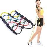 Tommy Lambert Yoga Cinturón 8 Glifo Látex Elástico Tira de Cuerda de Resistencia Culturismo Pecho Expander Deporte Fitness Yoga Pilates Equipo