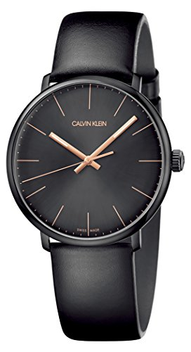 Calvin Klein Herren Analog Quarz Uhr mit Echtes Leder Armband K8M214CB